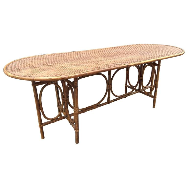 Large rattan dining room table circa 1970 for sale at 1stdibs for Dining room tables 80cm wide