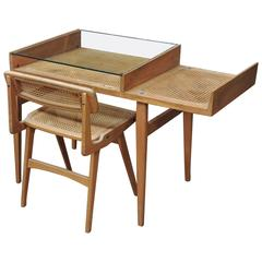 French Caned Oak Desk and Chair by Roger Landault