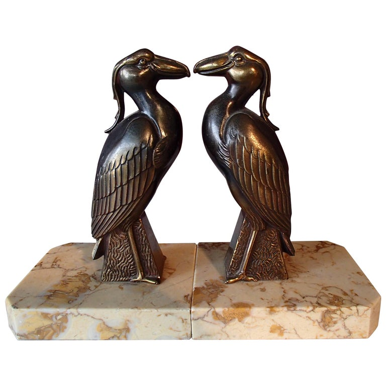 Pair of Art Deco Bronze Bird Bookend by Jamar For Sale