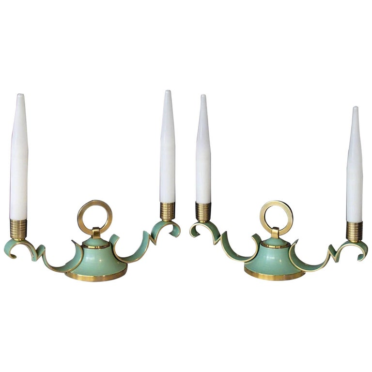 Pair of 1940 Sideboard, Table Bedside Lamps Green Brass Opal Tubes For Sale