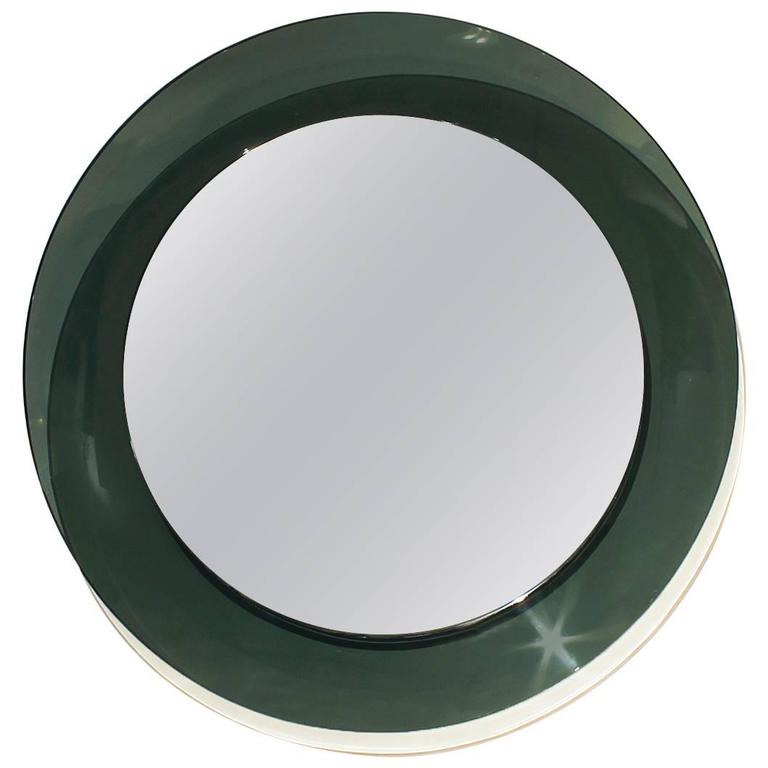 1960´s Round Mirror by Cristal Art, green gray rounded cristal frame - Italy