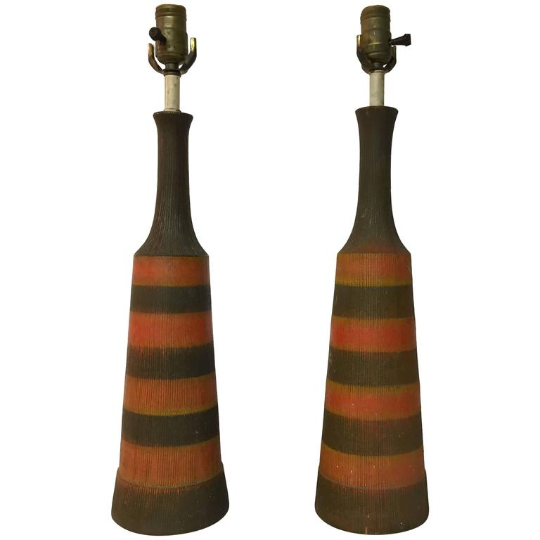 Pair of 1960 Autumnal Bitossi Italy Art Pottery Lamps For Sale