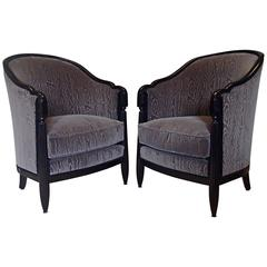 Pair of 1920 Bergères Armchairs Ebonized Wood Anthracite Moire Velvet