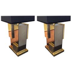 1970's Pair of Italian Bronzed Mirror & Brass Table Lamps w/ Black Shades