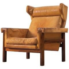 Danish Wingback Chair in Solid Rosewood and Patinated Cognac Leather