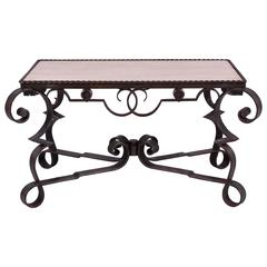 Early 20th Century Marble Wrought Iron Coffee Table, Art Deco