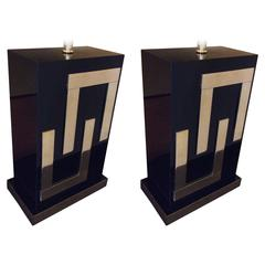 Gorgeous Pair of Black Plexi & Brass Table Lamps Late 20th Century with Shades
