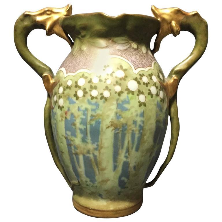 amphora ceramic vase with dragon handles vienna austria circa 1