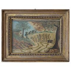 Primitive Painting of an English Landscape, Early 19th Century