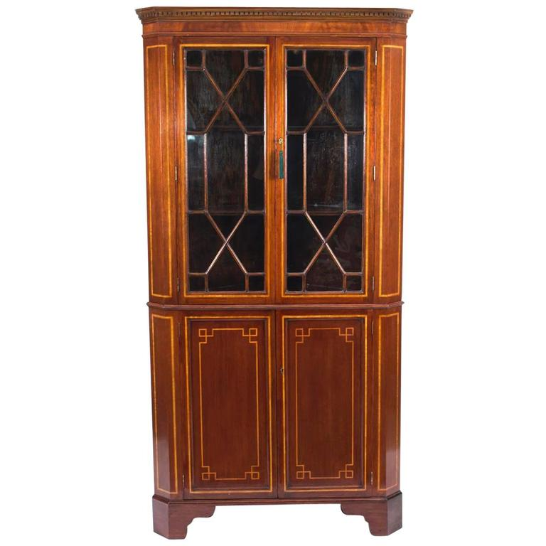 Early 20th Century Edwardian Inlaid Two-Door Corner Cabinet