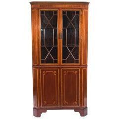 Antique  Victorian Inlaid Two-Door Corner Cabinet 19th C