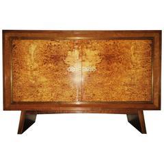 Fine Burl Walnut Art Deco Small Cabinet with Brass Fittings 1920-30