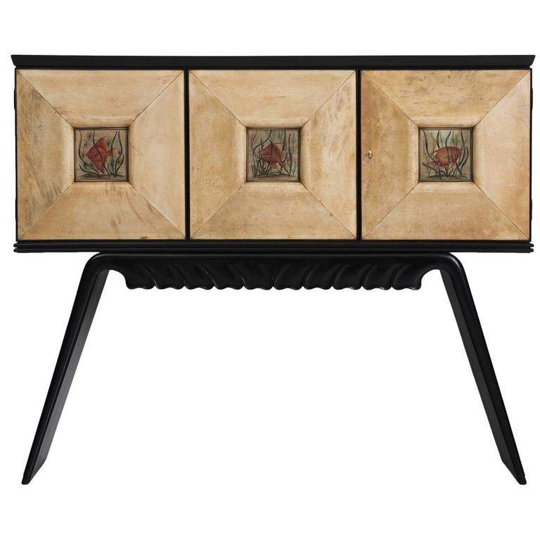Italian Illuminated Bar Cabinet in Ebonized Wood and Goatskin