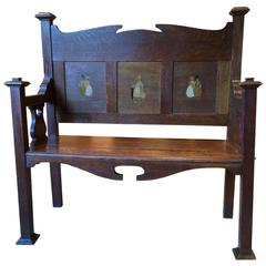 Antique Arts & Crafts Settle Bench Victorian 19th Century Inlaid Flemish Style