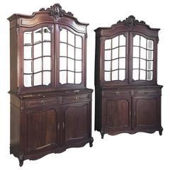 Pair 19th Century French Louis XV Mahogany Bookcases
