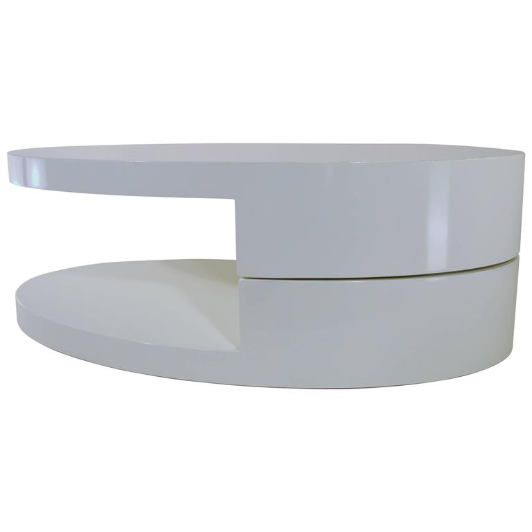 Rotating Coffee Table In The Manner Of Joe Columbo For Sale