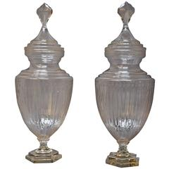 Large Pair of Edwardian Cut-Glass Lidded Display Jars 'or Apothecary Jars'