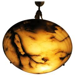 Veined Alabaster Pendant with Original Rope Suspension Early 20th Century