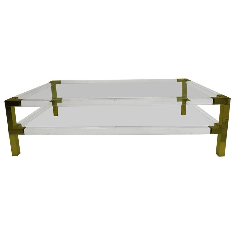 Large French Coffee Table: Large French Double Tier Lucite And Glass Cocktail Table