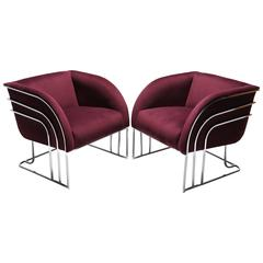 Mid-century Chrome Lounge chairs, Milo Baughman Style