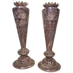 Silver Candlesticks Decorated in Silver Filigree, Early 19th Century