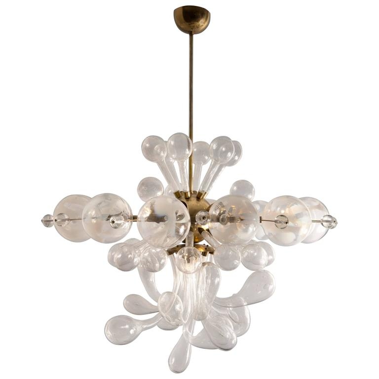 Original 1940s Czech Blown Glass Ceiling Light At 1stdibs
