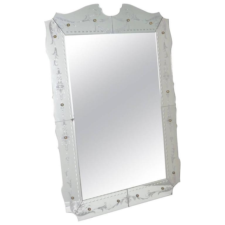 1940s Etched Venetian Mirror