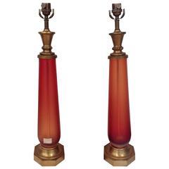 Signed Rare Venini Murano Inciso Lamps Designed by Paolo Venini