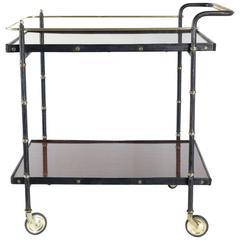Jacques Adnet 1950s Black Leather Bar Cart