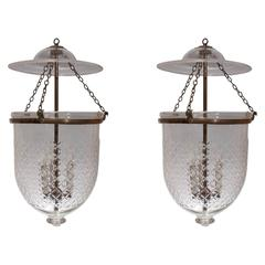 "Pair of 19th Century Bell Jar Lanterns with ""Diamond"" Etching"