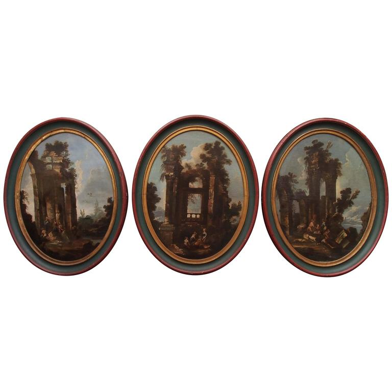 Set of Three Italian Oval Paintings of Ruins