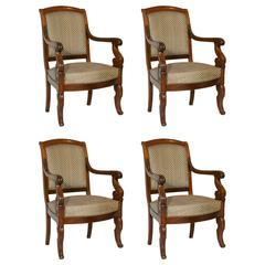 Suite of Four Armchairs from the Restauration Period, 19th Century