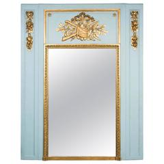 Important French Louis XV Style Blue and Gold Trumeau