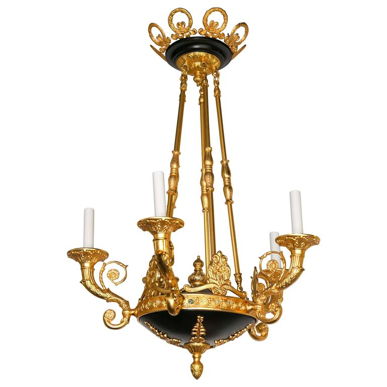 Gilt and Patinated Bronze French Empire Style Chandelier
