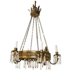 Polished Brass Six-Light Neoclassic Style Chandelier
