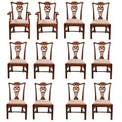 Set of 12 Chippendale Style Dining Chairs
