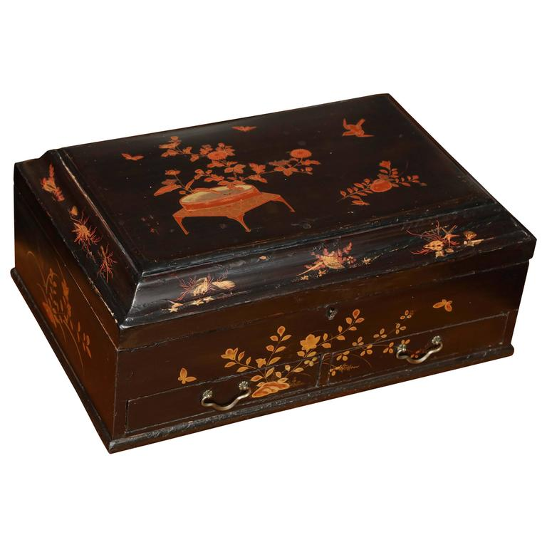 19th Century Ebonized Chinoiserie Rectangular Box