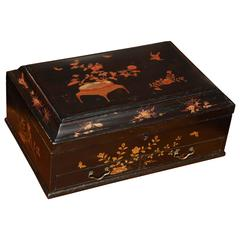 19th Century Ebonized Chinoiserie Rectangular Box