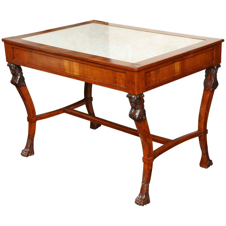 19th Century Empire Center Table Inset with White Marble Top