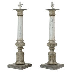 Pair of 19th Century Column Form Table Lamps