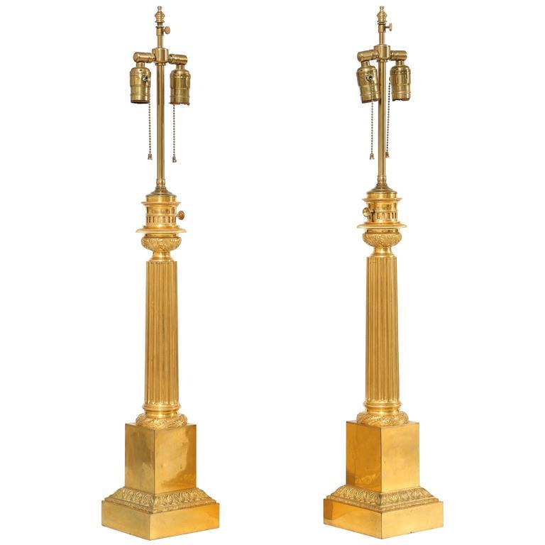 Pair of 19th Century Chevalier Brevete Gilt Bronze Column Form Table Lamps