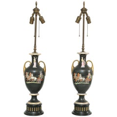 Pair of Staffordshire Classical Urn-Form Lamps