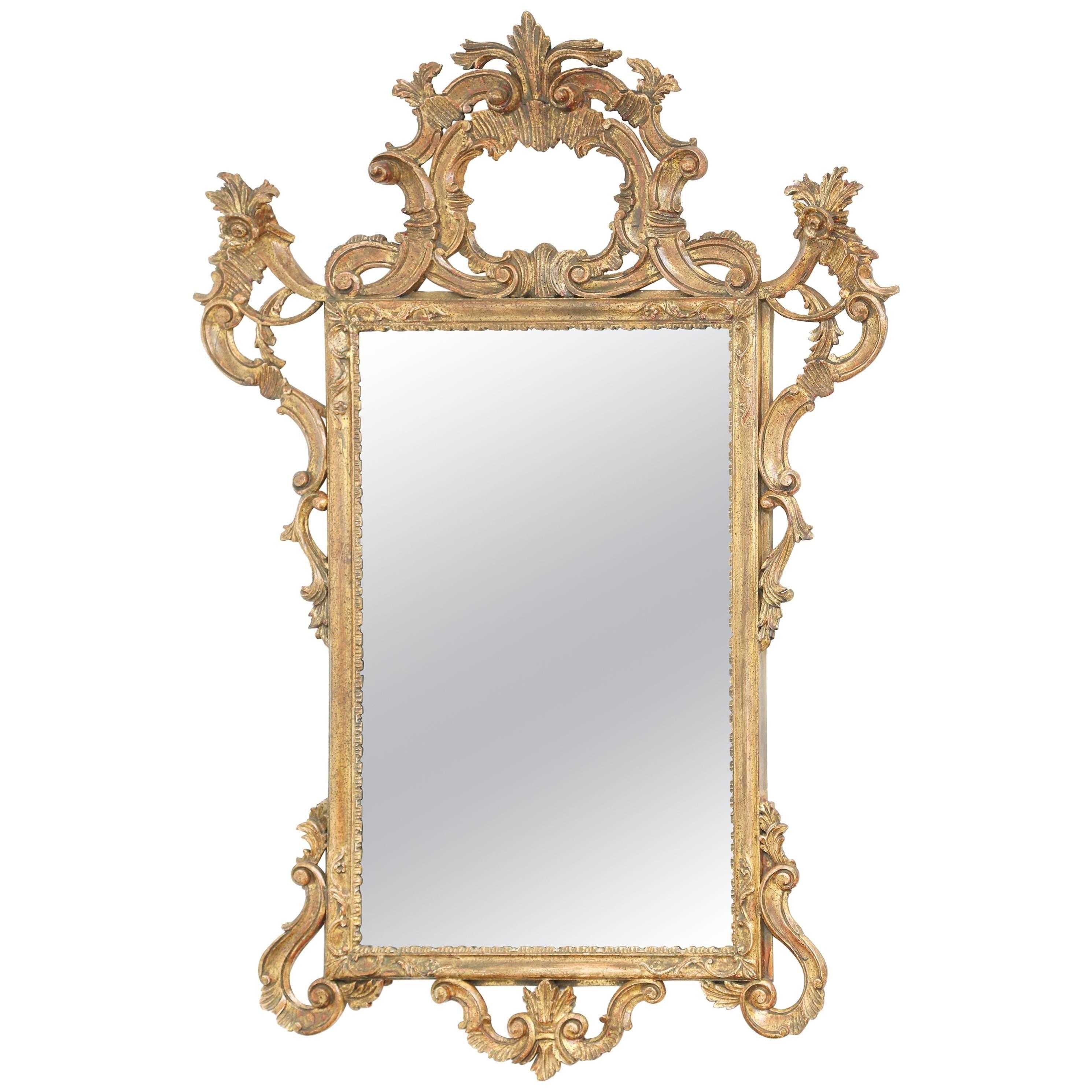 Carved Giltwood Italian Rococo Mirror