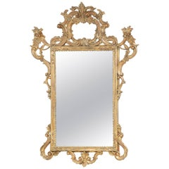 Carved Giltwood Italian Rococo Mirror
