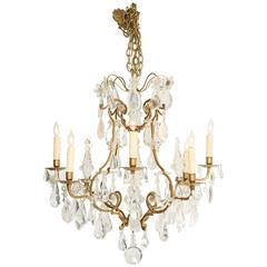 Chandelier of Bronze with Rock Crystal Accents