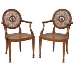Pair of Unusual Wheel-Back Caned Armchairs