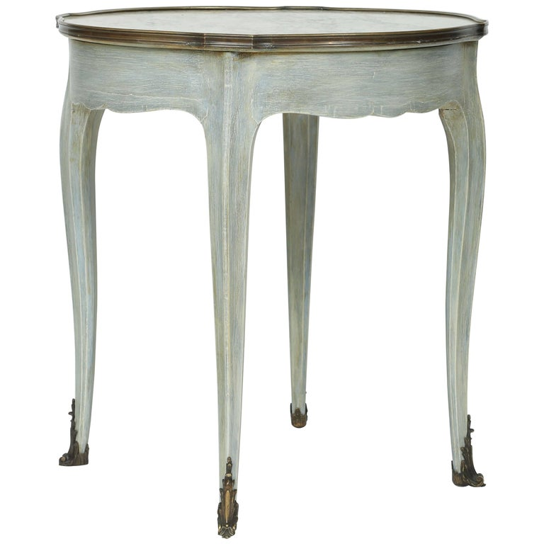 Painted Louis XVI Style Marble-Top Occasional Table