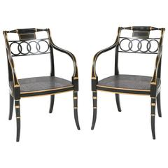 Pair of Lacquered and Parcel-Gilt Regency Style Armchairs by Baker