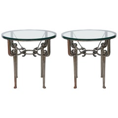 Pair of Round Iron End Tables in the Style of Giacometti