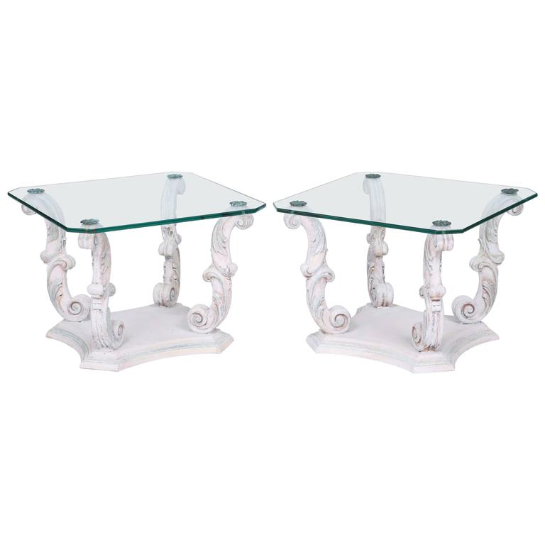 Pair of Italian End Tables on Scrolling Legs